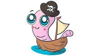 Cómo dibujar un Gusano pirata Kawaii