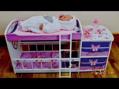 Baby Born Christmas Wooden Doll Bed with Pillow And Bedding Plus Care Centre with Drawer