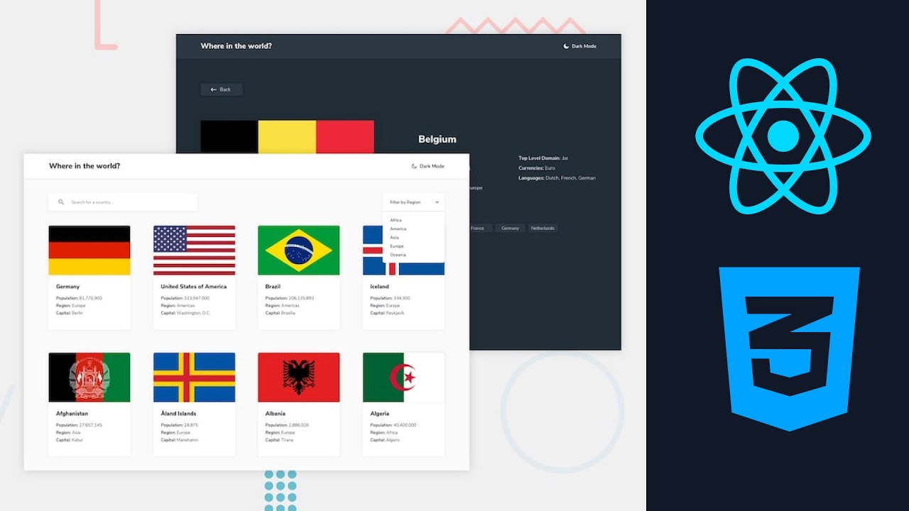 Rest Countries API challenge from Frontend Mentor using ReactJS
