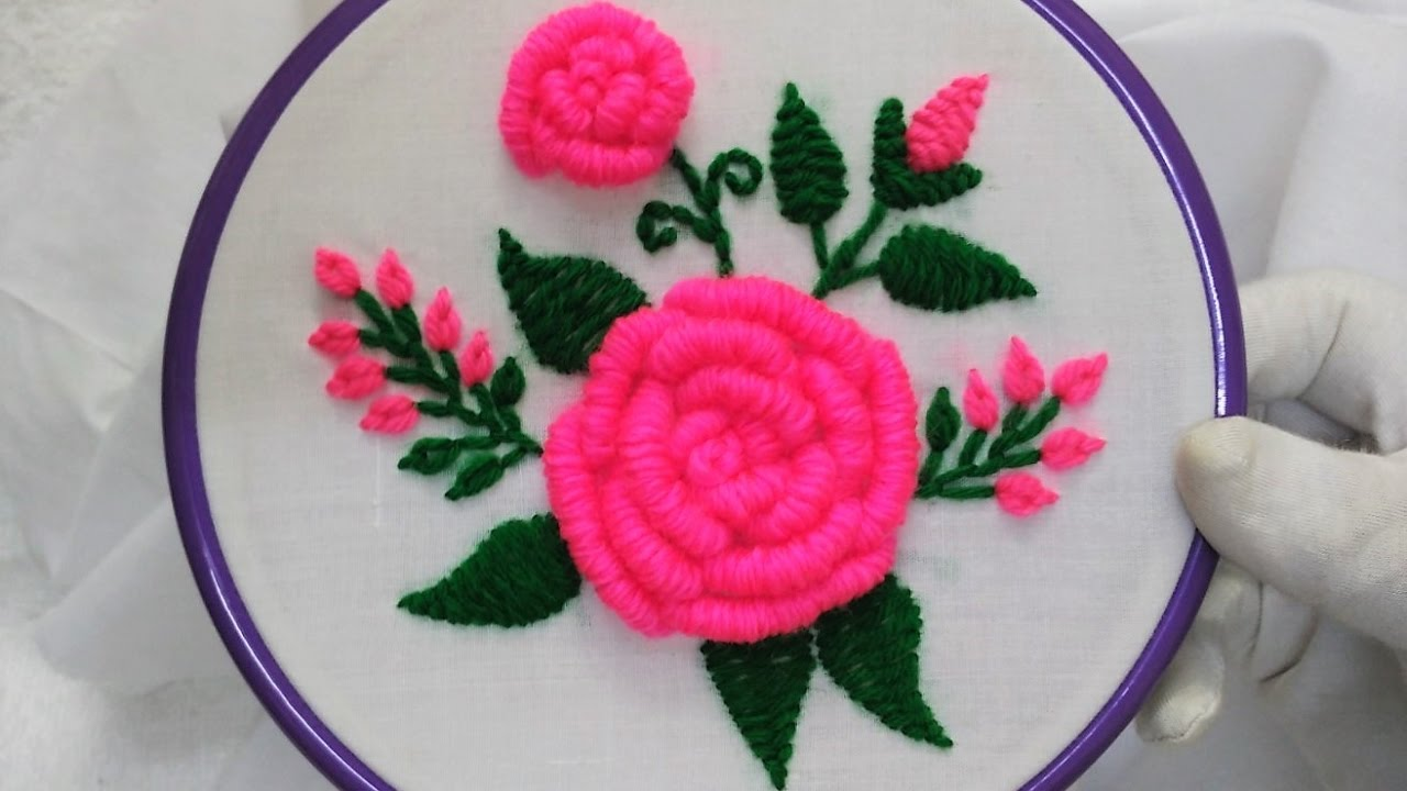 Hand embroidery pink roses with bullion knot stitch