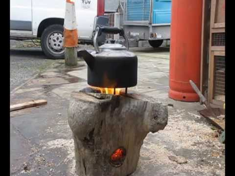 One Log Wood DIY Rocket Stove How to Use a Stump - YouTube