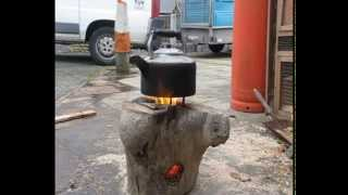 One Log Wood DIY Rocket Stove How to Use a Stump