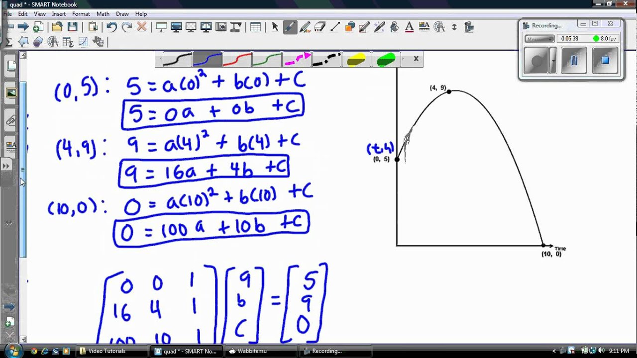 Finding the equation of a quadratic given 3 points youtube falaconquin