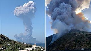 Massive volcanic eruption sparks panic on Stromboli