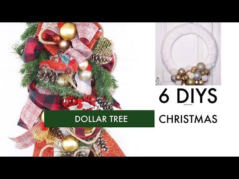 🎄6 DIY DOLLAR TREE CHRISTMAS CRAFTS🎄ELEGANT WREATH, SWAG ETC