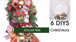 🎄6 DIY DOLLAR TREE CHRISTMAS CRAFTS🎄ELEGANT WREATH, SWAG ETC
