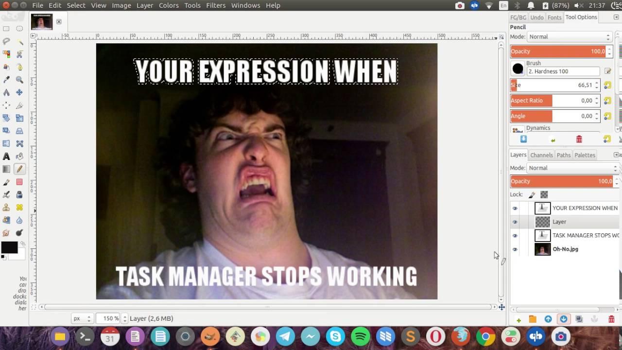 how to create meme on gimp image editor youtube