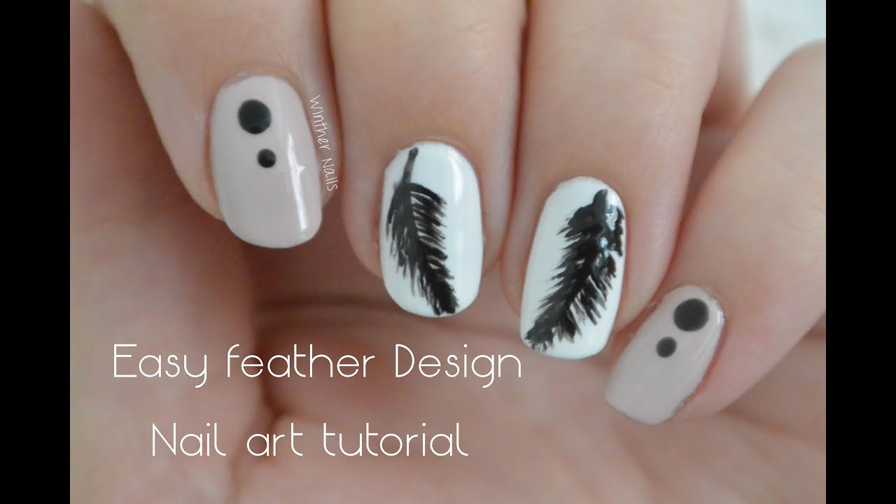 Simple and elegant feather design | Nail art tutorial - YouTube