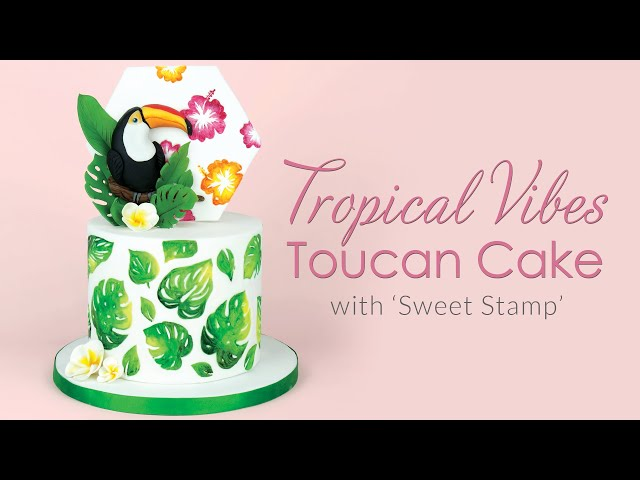 Tropical Vibes Toucan Cake Decorating Tutorial - with hand painted tropical leaves