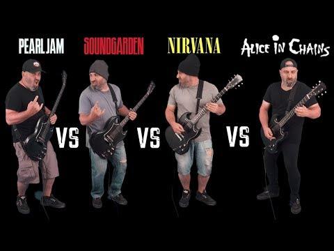 Ultimate Grunge Guitar Riffs Battle (Pearl Jam VS Soundgarden VS Nirvana VS Alice In Chains)