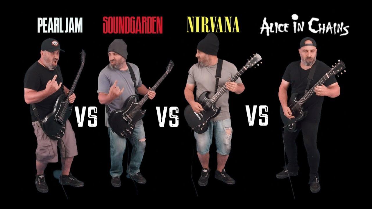 Download Ultimate Grunge Guitar Riffs Battle (Pearl Jam VS Soundgarden VS Nirvana VS Alice in Chains)
