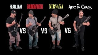 Ultimate Grunge Guitar Riffs Battle (Pearl Jam VS Soundgarden VS Nirvana VS Alice in Chains)
