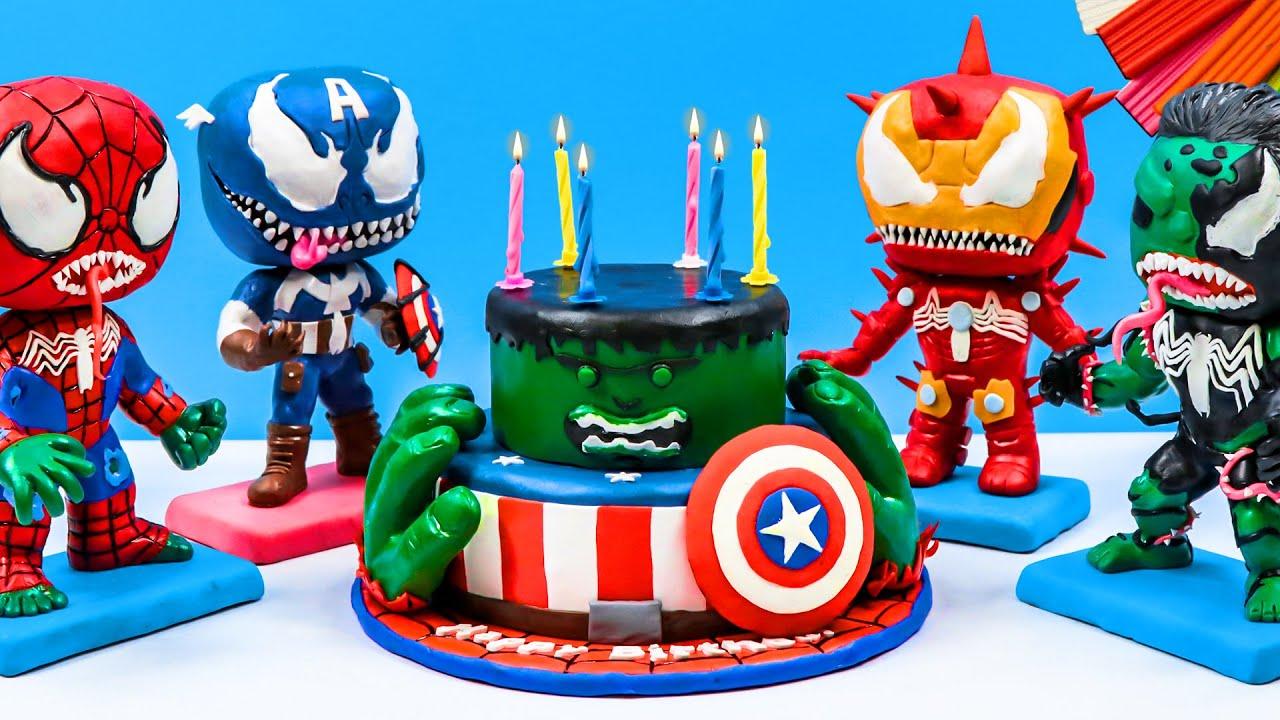 Birthday cake mix Superheroes Hulk, Spider-Man, Captain America with clay 🦸♂️️ Sky Clay