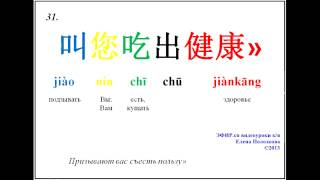 Видеоурок китайского языка «名医话养生», отрывок 3.