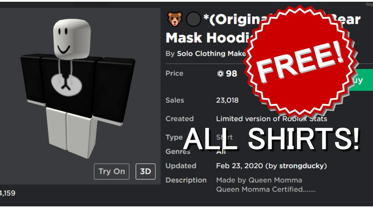 How To Get Any Shirt For Free On Roblox 2020 Youtube