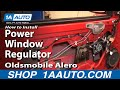 How To Install Replace Power Window Regulator Oldsmobile Alero 99-04 1AAuto.com