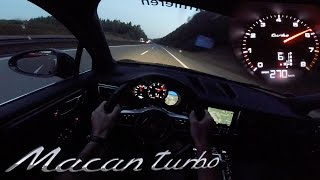 Porsche Macan Turbo POV AUTOBAHN Test Drive ACCELERATION & TOP SPEED 480HP Tuned by RaceChip
