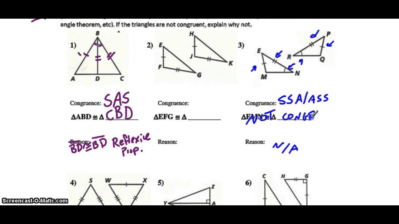 Triangle Congruence, Tier 2: Triangle Congruence Worksheet