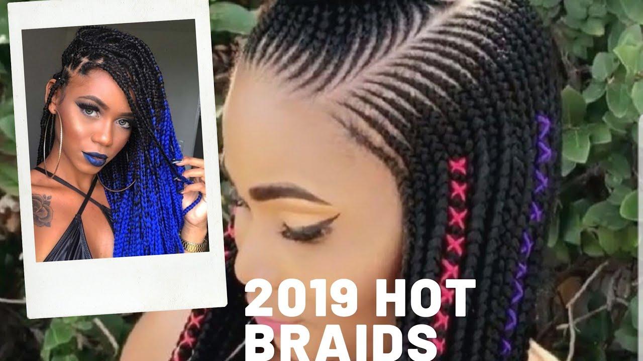 2019 Hot Braiding Styles Cornrows Colourful Braids Youtube