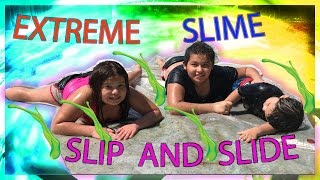DIY SLIME FROM MICHAEL'S HEADQUARTERS | EXTREME SLIME SLIP AND SLIDE !!!