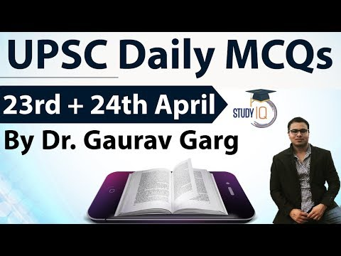 UPSC Daily MCQs on Current Affairs - 23 + 24 April 2018 - for UPSC CSE/ IAS Preparation Prelims