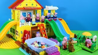 Peppa Pig House Building Playset With Swimming Pool And Water Slide LEGO Creations Toys for Kids #3