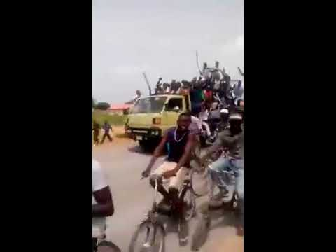 Residents of Gwoza jubilating on military's success against the Boko Haram terrorists