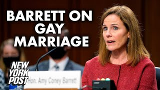 Amy Coney Barrett dismisses gay marriage overturn, 'female Scalia' moniker | New York Post