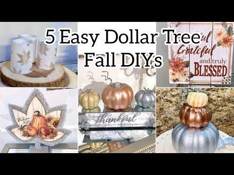 5 FALL DOLLAR TREE DIY GLAM HOME DECOR