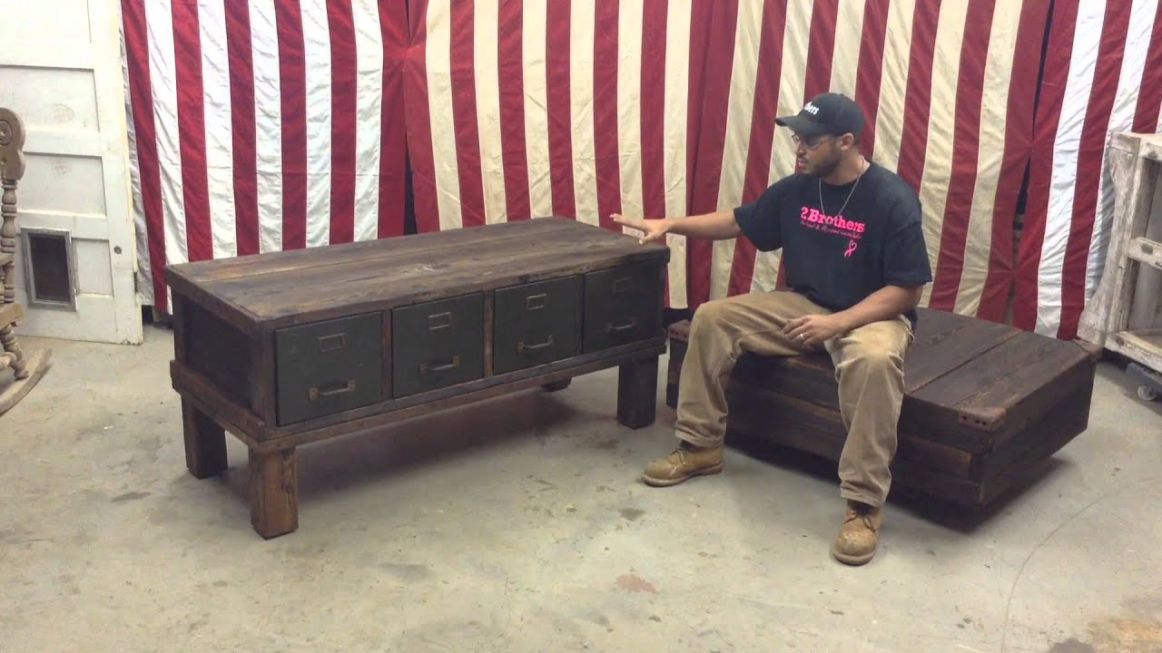 Reclaimed File Cabinet and Custom Industrial Cart Coffee Table by