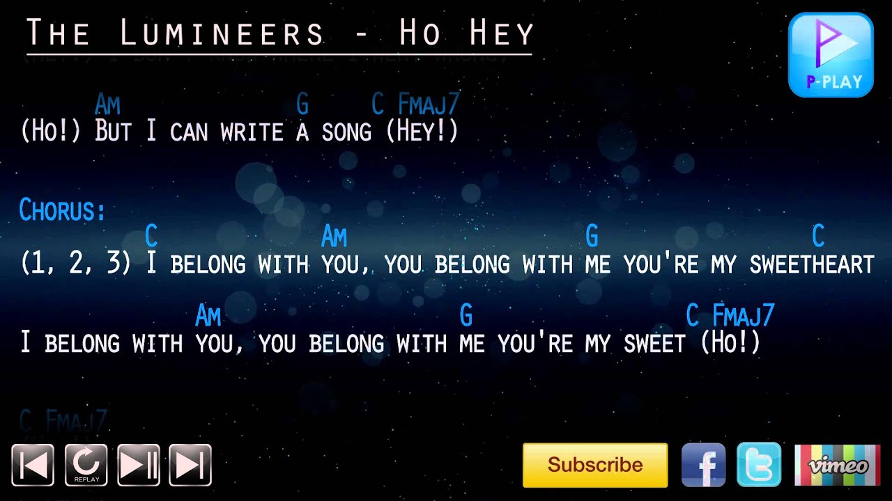 The Lumineers Ho Hey Chord Lyrics Youtube