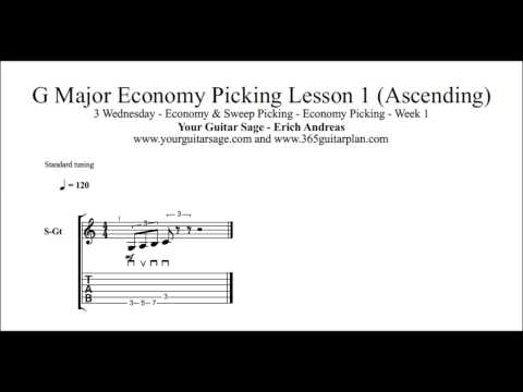 365 Guitar Plan | Wed | Wk 1 | Economy Picking | G Major Economy Picking Lesson 1 (Ascending)