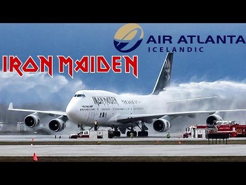 *Water Salute!* Iron Maiden 747-400 (B744) Boarding, taxiing & departing YUL