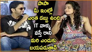 Nithin Making Fun On Rashmika Mandanna Over IT Raids At Bheeshma Movie Press Meet || Shalimarcinema