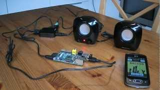 Raspberry Pi running squeezeslave connected to LMS server, controlled by Squeezer
