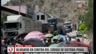 Sucre: Siguen los bloqueos contra el Código Penal y anuncian más medidas