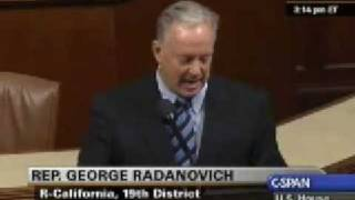 Rep. Radanovich speaks on the wasteful Washington spending in the Stimulus bill