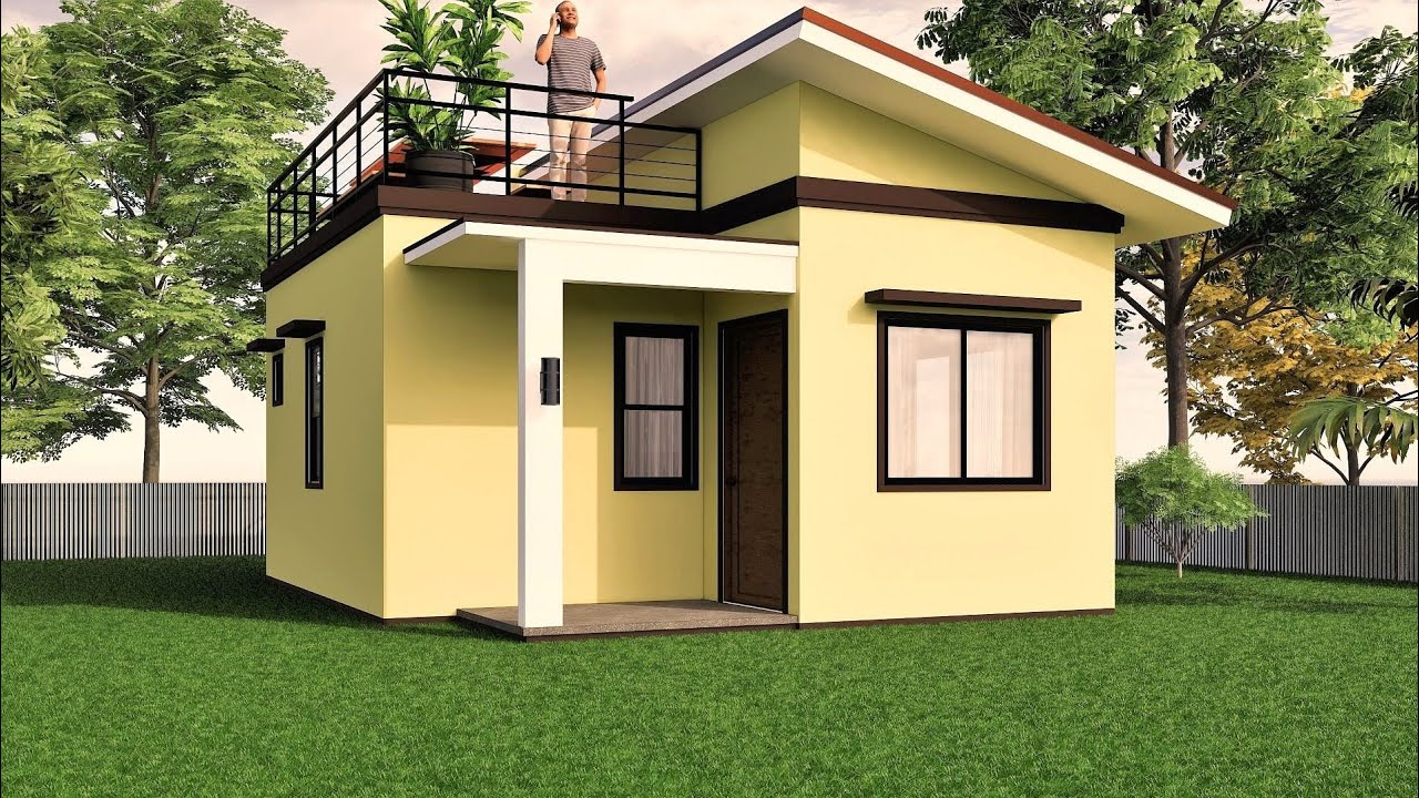 7 Small House Design With Roof Deck 38 Sqm Youtube Small House Design Small House Design Plans Small House Roof Design