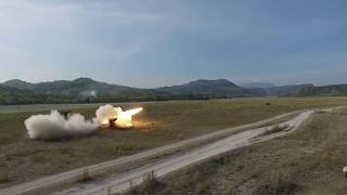Aerial View When United States and  Philippines Armed Forces Conduct M142 HIMARS Rocket Firing thumbnail