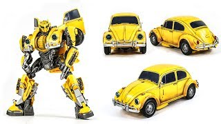 Transformers Movie 2018 Bumblebee REPAINT Power Charge Bumblebee VW Betle Vehicle Car Robot Toy