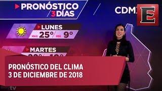 Clima para hoy 3 de diciembre de 2018