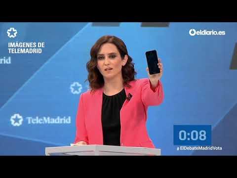 Díaz-Ayuso y su móvil apagado para explicar la propuesta digital del PP