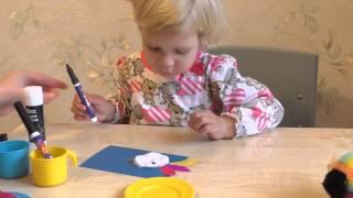 Птичка (птица). Аппликация. Поделка из цветной бумаги для детей 2 – 3 лет.