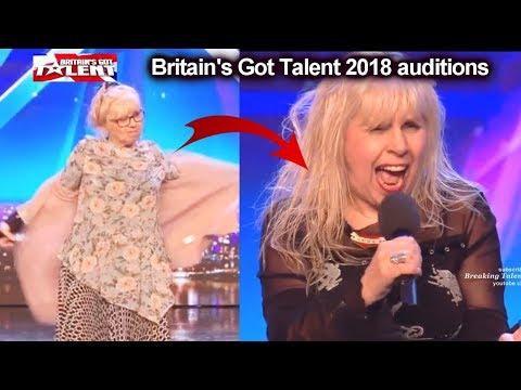 Jenny Darren 68 yo ROCKER CHANGED Costume on Stage Auditions Britain's Got Talent 2018 BGT S12E02