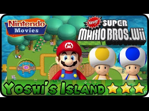 Newer Super Mario Bros. Wii - World 1 - Yoshi's Island (100%, Multiplayer)