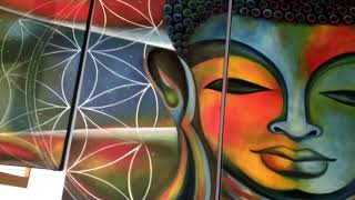 Colourful Buddha oil painting  Multicolored Buddha painting   5 panel buddha painting