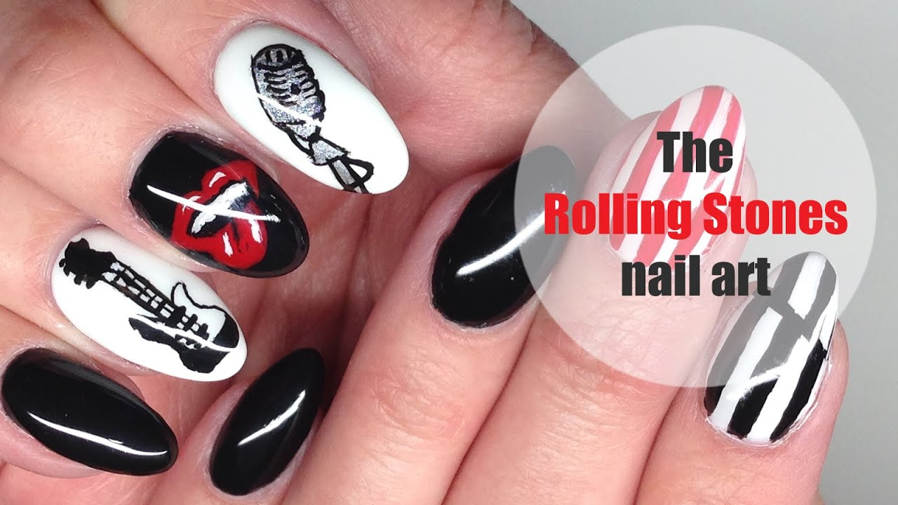 The Rolling Stones nail art (logo, guitar, microphone, op art ...
