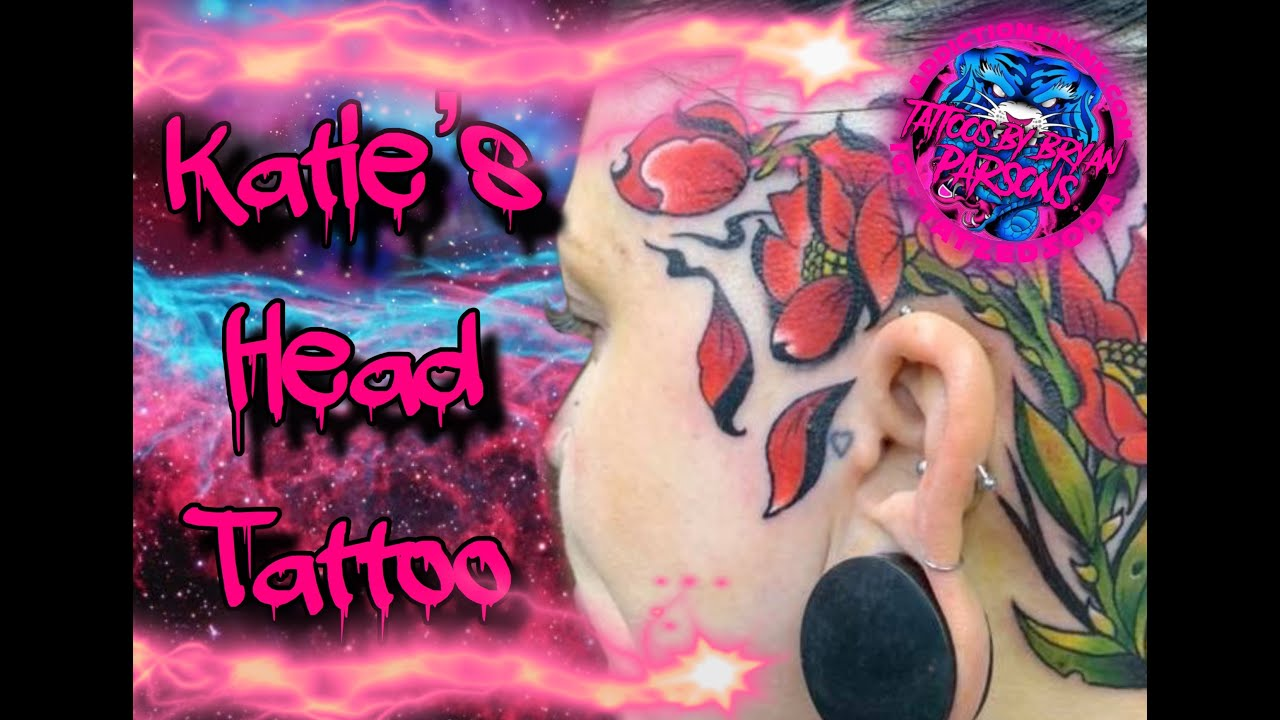 Katie's head tattoo.  Read below to see how to win FREE TATTOO TIME