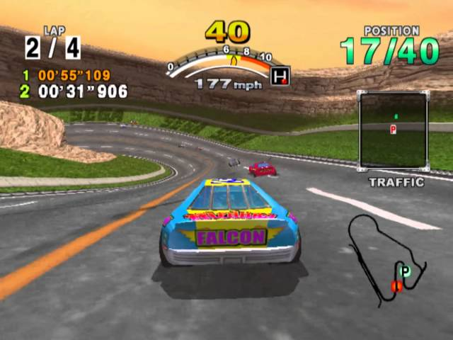 Daytona USA 2001 - Dinosaur Canyon at Sunset (with Falcon)