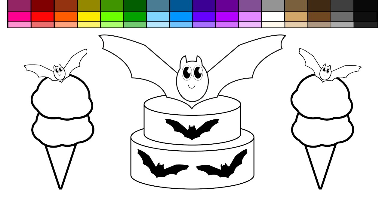 Learn Colors for Kids and Color Halloween Bat Birthday